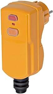 Brennenstuhl Fiche étanche (IP 54) avec protection différentielle 10 mA, fiche mâle 230V (2P+T) pour câble 3G1,5 - 3G2,5, orange, Quantité : 1