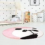 Kinderteppich Hochwertig Konturenschnitt Glanzgarn mit Panda-Bär in Rosa für Kinderzimmer Größe 120/120 cm Rund