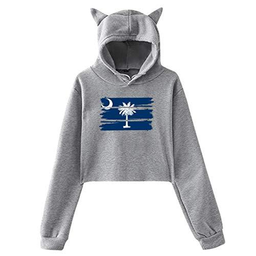 HYJDZKJY Frauen-Mädchen-Katzen-Ohr-Pullover Hoodie South Carolina Flag Cropped Sweatshirts (Weiß Carolina-sweatshirt South)