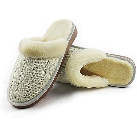 Inverno lana imitazione maglia di lana piatto caldo con casa anti - scivolare pantofole di (1.5 Pvc Slittamento)