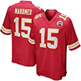 Majestic Athletic NFL Football Kansas City Chiefs 15# MAHOMES T-Shirt Jersey Bequem und Atmungsaktiv Trikot,Men-L