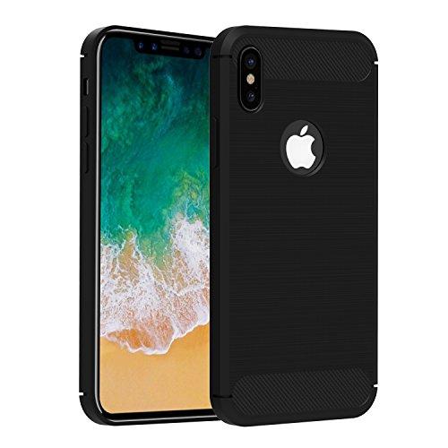 Funda iPhone X, iVoler Negro Súper TPU Silicona Carcasa Fundas Protectora con...