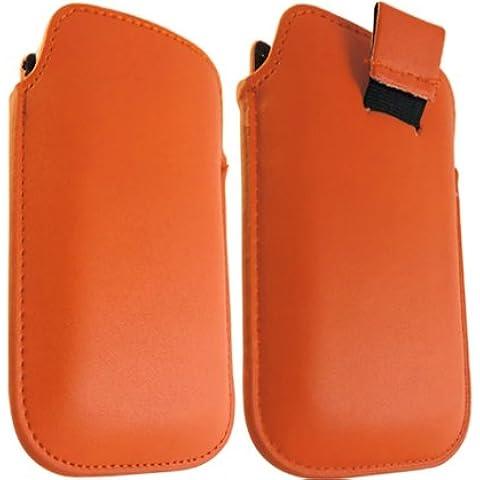 ONX3 Blackberry 9100 de la perla de cuero anaranjado Tire de la lengüeta de protección Funda + LCD Protector de pantalla