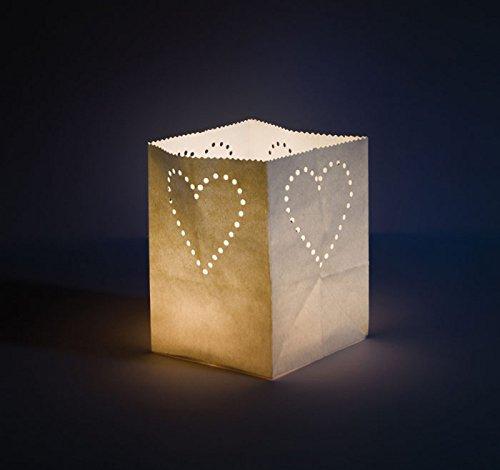 Chaks 0535, Set de 5 GRANDS Photophores 13cm, Coeur blanc