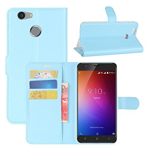 HualuBro Blackview E7 Hülle, [All Around Schutz] Premium PU Leder Leather Wallet HandyHülle Tasche Schutzhülle Flip Case Cover für Blackview E7 / Blackview E7s Smartphone (Blau)