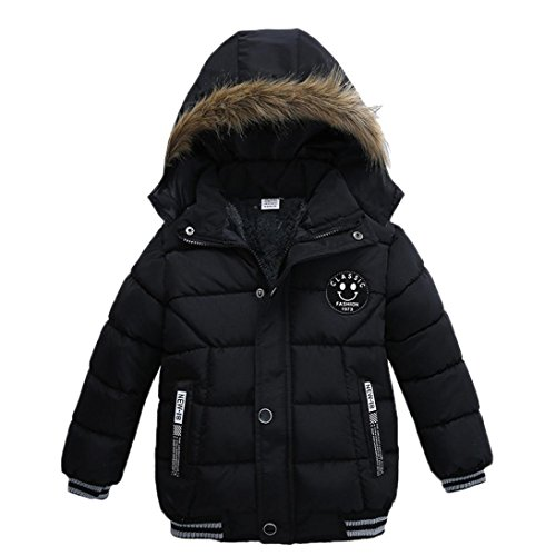 VENMO Mode Kinder Mantel Mädchen Dicke Kleidung Gepolsterte Winterjacke Daunenjacke Jungen Jacke Daunenjacken mit Kapuze Ultraleichte Wattierte Steppjacke Strickjacke Daunenmantel (4T, Black) 4t Jacke