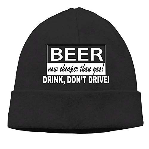 689c07ff110 Momen s Beer Now Cheaper Than Gas Drink Don t Drive Elastic Jogging Black  Beanies Knit
