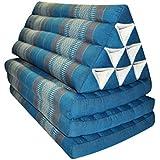 Matelas Thai XXL 3 plis avec coussin dossier triangle, canapé, détente, matelas, kapok, plage, piscine, fabriqué en Thailande, bleu/gris (82618)