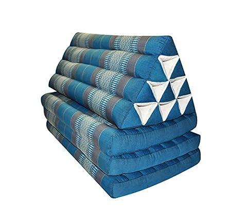 Kapok Thaikissen, Dreieck mit drei Auflagen, XXL, Blau-Grau