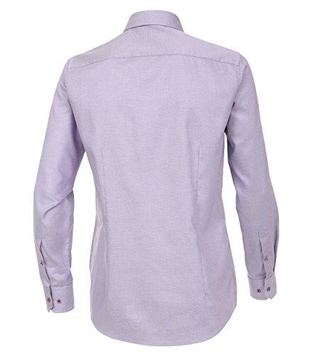Venti Slim Fit Hemd Langarm mit Blauen Besätzen Struktur Weiß Flieder
