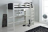 Scallywag Kids High Sleeper Bed - White/Black - Straight Ladder in White - Integral Desk & Shelves. Made In The UK.