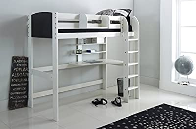Scallywag Kids High Sleeper Bed - White/Black - Straight Ladder in White - Integral Desk & Shelves. Made In The UK.