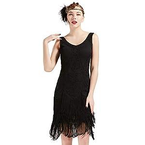 Coucoland 1920s Kleid Damen Flapper Kleid ohne Ärmel V Ausschnitt Knielang Charleston Kleid Gatsby Motto Party Damen Fasching Kostüm Kleid (Schwarz, XS (Fits 66-72 cm Waist))