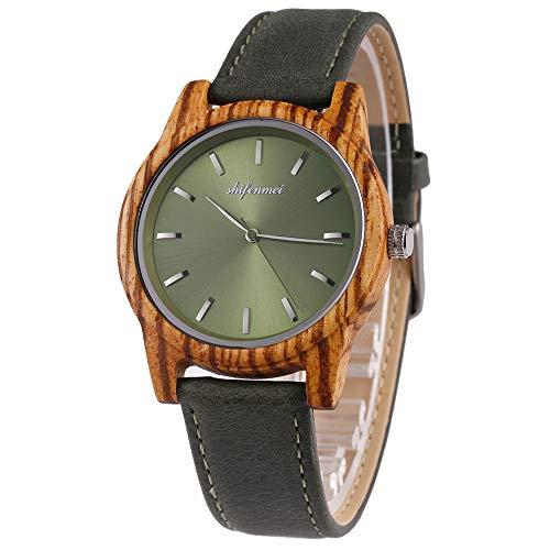 Shifenmei Damen Holzuhr Unisex Armbanduhr Quarz Ultradünne Uhren mit Leder Armband Kollektion inkl. Geschenbox S5551