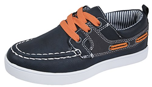 Boys Boat Deck Shoes Navy / Orange 13