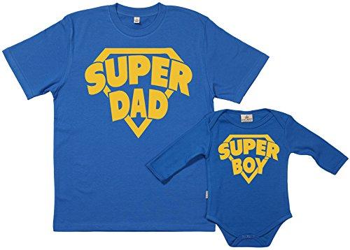 SR - SuperDad & SuperBoy- conjunto de regalo para padres y bebés - En caja de regalo - padre camiseta & bebé body, azul, M & 0 meses