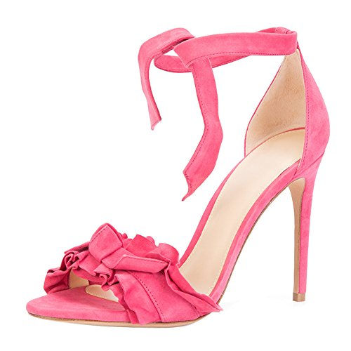 Damen Sandalen Open Toe High-Heels Stiletto Knöchelriemchen Pink
