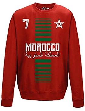 Felpa Girocollo Uomo Nazionale Sportiva Marocco Maroc 7 Calcio Sport Africa Stella 1