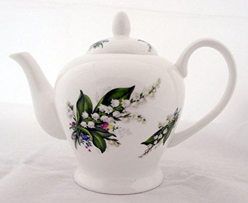 Muguet Théière en porcelaine anglaise 567 gram 525 ml Lys Théière décorée à la main au Royaume-Uni