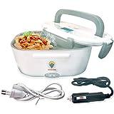 Elektrische Lunchbox 2 in 1 für Auto und Büro - Warmhaltebox für Essen Edelstahl 12V und 220V - Food Box Speisenwärmer 40W