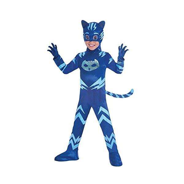 Amscan- Costume PJ Mask Cat Boy Luxe (3-4 anni), Multicolore, 7AM9902964