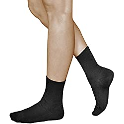 3 Pares de Calcetines para Mujer sin Elástico, 98% ALGODÓN PEINADO, Previenen Pies Cansados, Vitsocks Health, 39-42, negro