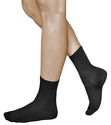 3 Paar Damen Socken ohne Gummi, 98% GEKÄMMTE NATUR BAUMWOLLE, Diabetiker und Entspannung-Socken, Vitsocks Health, 39-42, schwarz (Rippen-socken Keine Frauen)