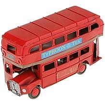 Juguetes Autobús de Londres de dos Pisos Metal Funde Artesanías Hechas a Mano Rojo - S