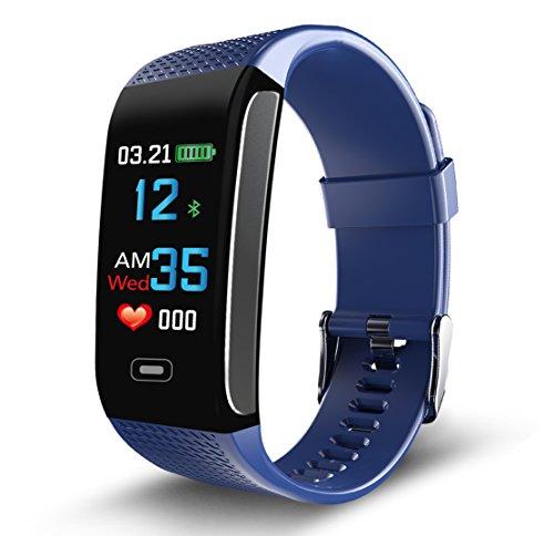 Napperband 2018Fitness-Tracker, elegantes Design, mit GPS, Herzfrequenz-Anzeige, Blutdruck, Schlaf-Tracker, Kalorienzähler, Smartphone-Suche, etc., für iPhone, Google und Android, blau