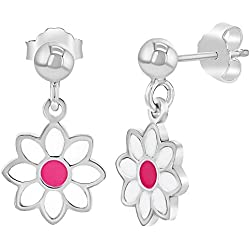 Pendientes colgantes de plata de ley 925 con diseño de margarita y flores, color rosa y blanco