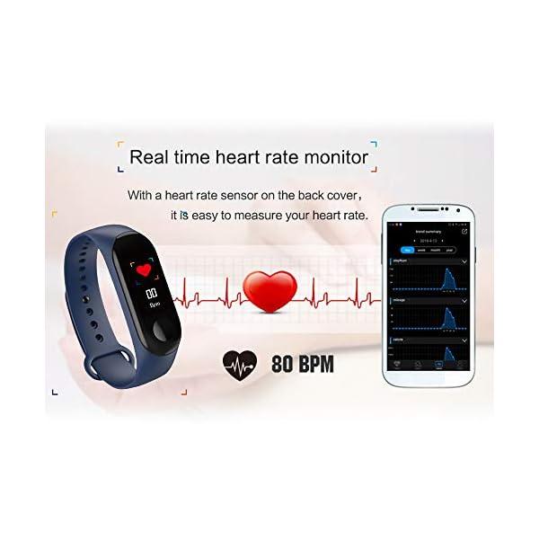 Konesky Fitness Tracker Monitor de Ritmo cardíaco Pulsera de presión Arterial Actividad Reloj Podómetro Contador de calorías Pulsera para Android iOS Smartphone 4