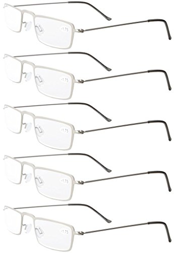Eyekepper 5-Pack rostfrei Staal Rahmen Halb-Augen Art Lesebrille Leser Silber +1.75