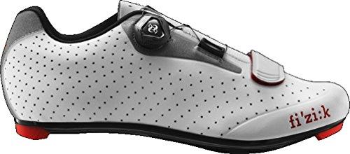 FIZIK Rennschuh 'R5B Uomo' Obermaterial: Microtex, reflektierender Hacken, Laufsohle: Carbon verstärktes Nylon, Innensohle: fi'zi:k Cycling Insole, Verschluss: Boa IP1 System, Gewicht: 260g, white/light grey, Gr. 44,5