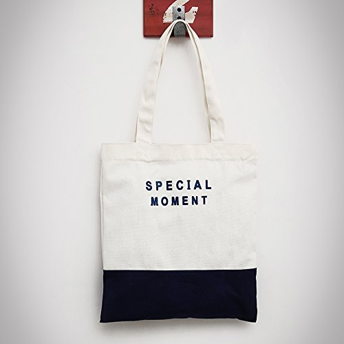 L'épaule femmes toile art portable, toile décontracté sacs femmes sacs vrac étudiant Dark Blue