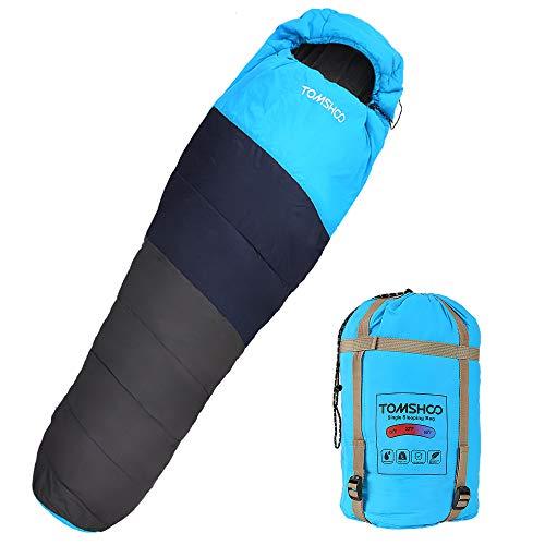 """TOMSHOO Saco de Dormir Tipo Momia 87"""" x32 Ultraligero Impermeable Portátil con Saco de Compresion Ideal para Acampar, Excursionismo, Viajes, Mochilero y Actividades al Aire Libre"""