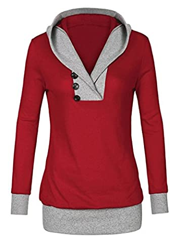Femme Automne Sexy Mode Sweats À Capuche Manches Longues Col V Sweat-shirt Encapuchonné Sweatshirt Décontractée Hooded Mince Chemisiers Unique Tops Élégant Sweater Pull Monissy