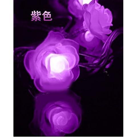 LED String Fata luci ambiente stellato illuminazione esterna per case Natale Decorazioni Patio LED luci fairy rose lampada ,connettore viola Flash 10 metri 100 ROSES