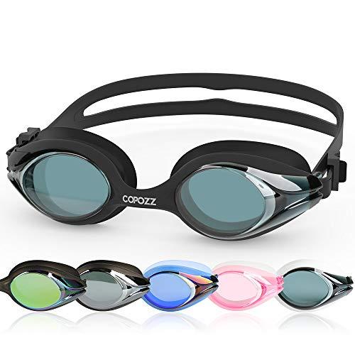 COPOZZ Schwimmbrillen, Triathlon Unisex Erwachsene Schwimmbrille für Damen Herren Männer Frauen Wettkampf, Auslaufen-frei UV-Schutz Antibeschlag Flexible Taucherbrille, kostenloser Schutzhülle