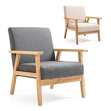 Mingone Polstersessel Loungesessel Grau Cocktailsessel Wohnzimmersessel Einzelsofa für Esszimmer & Wohnzimmer, Eleganter Retro Stuhl aus Stoff mit Massivholz-Struktur und Rückenlehne (Beige)