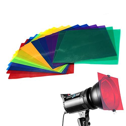 Farbige Overlays Transparente Farbfolie Kunststoff Folien Korrekturgel Licht Filter Blatt, 20 x 20 cm, 8