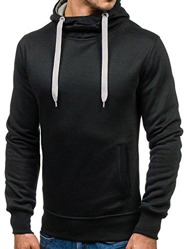 BOLF Herren Kapuzenpullover Sweatshirt Hoodie Basic Sport Style Mix 1A1 Schwarz-Grau_2072