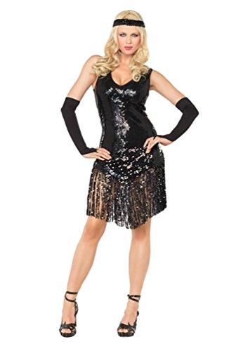 YOUJIA Damen Dance Kleid Tanzballkleider Salsa Latein Tango Kleider Halloween Flapper Kostüm mit Fransen Pailletten (Schwarzes Kleid Halloween Kostüme Flapper)