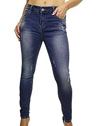 ICE (1521-1) Jeans Moulant et Extensible aux Jambes Délavées et Griffées Bleu