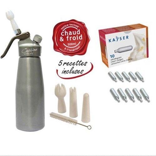 Siphon à chantilly professionnel mousses et crèmes chaud et froid Corps et tête en aluminium 500 ML