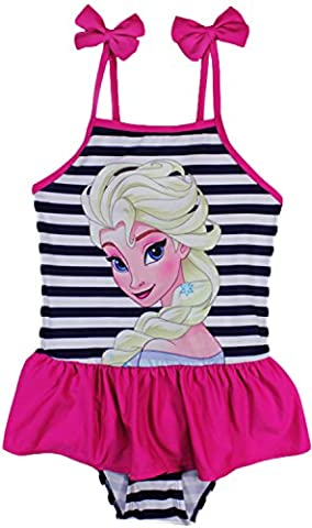 Girs Disney Frozen Anna Elsa Swimming Costume / Tankini / Bikini (7 Years (122 cm), Navy Blue Stripes (1 pc))