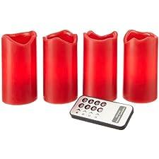 Best Season 067-12 - Juego de velas de Adviento con iluminación LED (4 piezas, utilizables de una en una, mando a distancia y pilas incluidas), color rojo