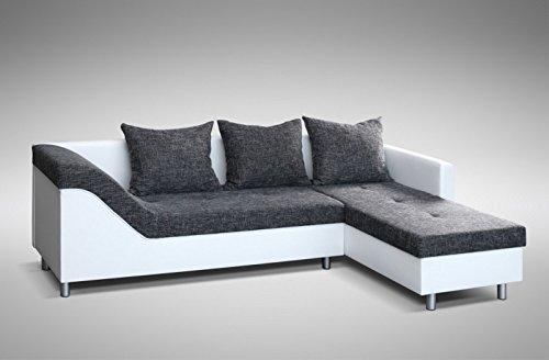 Sofa Couch Ecksofa Eckcouch Sofagarnitur in weiss / graubraun - Lissabon 2- R - 4