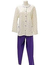 Pijama de mujer abierto de algodón Felpato crema 56