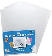 10x A3clara cubiertas de archivo abierto superior y lateral (Premium plástico carpeta carteras