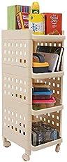 Kurtzy® Vertical 4 Layer Space saving Storage Organizer Rack Shelf with Rubber wheels for Kitchen Bathroom (L=28/B=33/H=86cm)